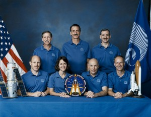 This STS-61 crew portrait includes astronauts (top row, l to r) Richard O. Covey, Jeffrey A. Hoffman, and Thomas D. Akers and (bottom row, l to r) Kenneth D. Bowersox, Kathryn C. Thornton, F. Story Musgrave, and Claude Nicollier.