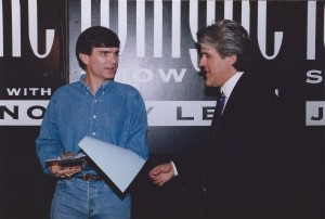 "Joe Toplyn discusses a comedy piece with Jay Leno backstage at ""The Tonight Show with Jay Leno"" in February 1995"