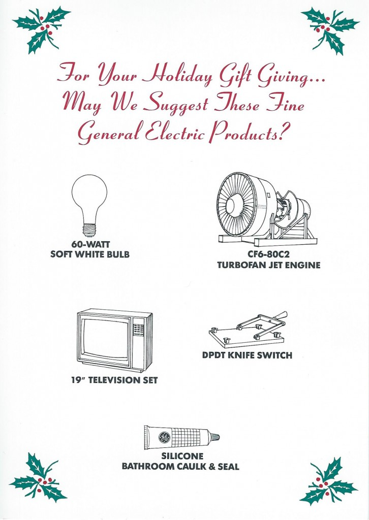 "1986 holiday card from ""Late Night with David Letterman"" promotes General Electric products"