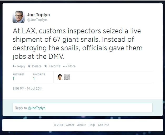 Joe Toplyn's tweet about snails and the DMV