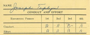 Joe's sixth-grade report card