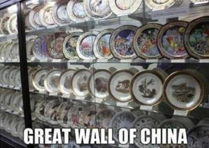 A wall of china plates