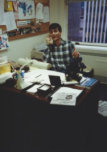 "Joe Toplyn in his office at ""Late Night with David Letterman"" in 30 Rockefeller Plaza, February 1990"