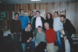 "Tony Shalhoub with Joe Toplyn and other members of the ""Monk"" writing staff, February 2005"