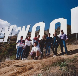 "Joe Toplyn, Charlie Sheen, and ""Tonight Show with Jay Leno"" staff at the Hollywood sign"