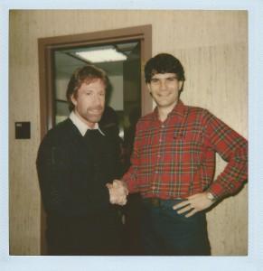 "Joe Toplyn with Chuck Norris at ""Late Night with David Letterman"""