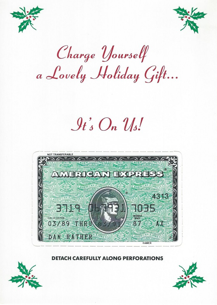"1989 holiday card from ""Late Night with David Letterman"" features Dan Rather's credit card"