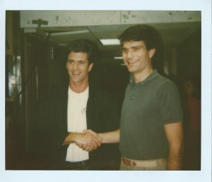 "Joe Toplyn with Mel Gibson at ""Late Night with David Letterman"""