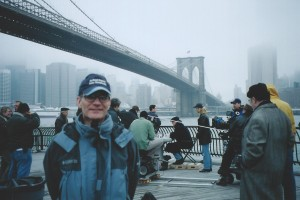 "Joe Toplyn with the crew of ""Monk"" at the Brooklyn Bridge in New York City"