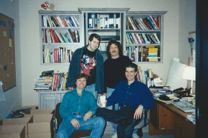 "Joe Toplyn with other writers in his office at ""The Tonight Show with Jay Leno"""