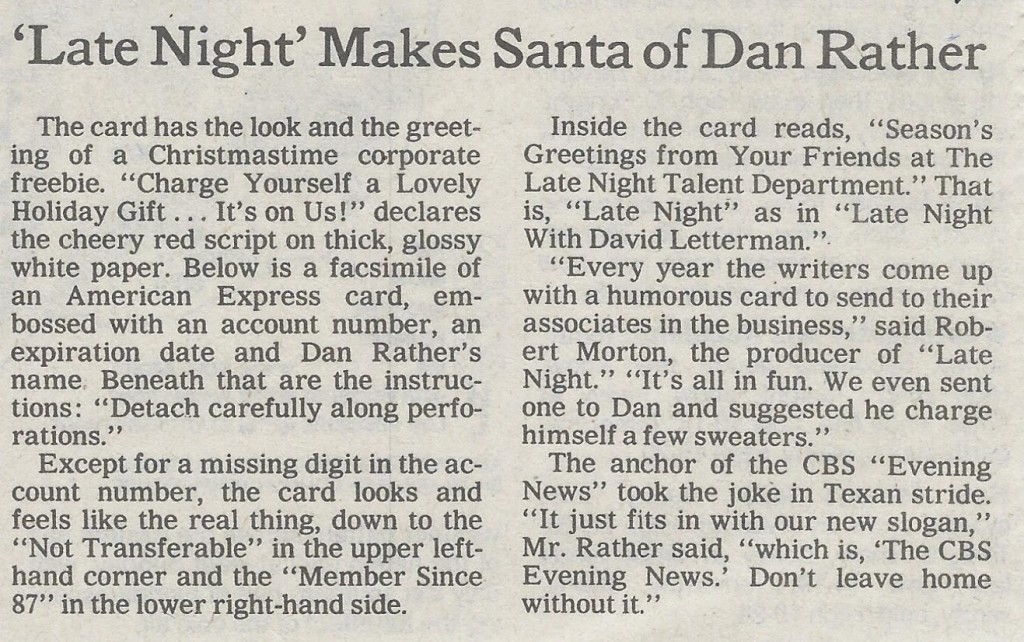 "Headline of 1989 ""New York Times"" item reads ""'Late Night' Makes Santa of Dan Rather"""