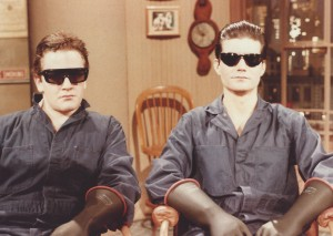 "Sandy Frank and Joe Toplyn as the ""Conspiracy Guy"" enforcers at ""Late Night."""