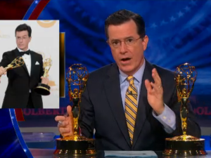 Stephen Colbert with two Emmys