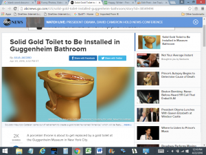Gold Toilet to Be Installed in Guggenheim Bathroom