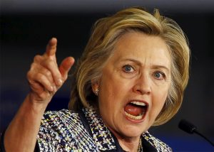 Hillary Clinton shouting