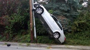 Car crashed into telephone pole