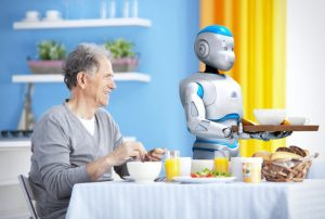 Senior citizen with personal robot